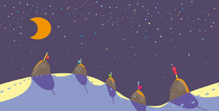 Crescent. In the sky and five haystacks on snow Royalty Free Stock Images
