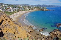 Crescent Bay, Laguna Beach, California. Summertime view of Crescent Bay, Laguna Beach, California. The beach is open to the public Photo location is called Stock Photos