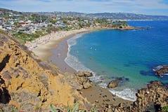 Crescent Bay, Laguna Beach, California. Summertime view of Crescent Bay, Laguna Beach, California. The beach is open to the public Photo location is called stock photos