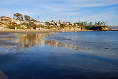Crescent Bay, North Laguna Beach, California. Image shows Crescent Bay and Beach at low tide in North Laguna Beach, California. Photo taken from the north end Stock Photography
