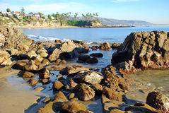 Crescent Bay, North Laguna Beach, California. Image shows Crescent Bay in North Laguna Beach, California.Photo taken in January from the rocky, north end of the Stock Images