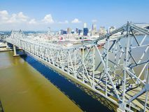 Crescent City Connection Bridge And Downtown New Orleans Stock Photos