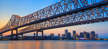 The Crescent City Connection Bridge on the Mississippi river. And downtown New Orleans Louisiana Stock Photos