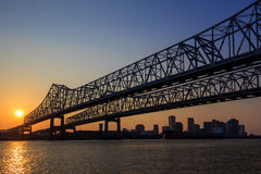 The Crescent City Connection Bridge on the Mississippi river Stock Images