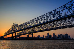 The Crescent City Connection Bridge on the Mississippi river Royalty Free Stock Photography