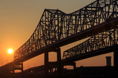 The Crescent City Connection Bridge on the Mississippi river Stock Image