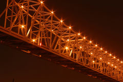 Crescent City Connection at Night. The Crescent City Connection bridge in New Orleans at night Royalty Free Stock Photo