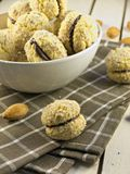 Crescent cookies. Oldfashion crispy chocolate filled cookies royalty free stock photos