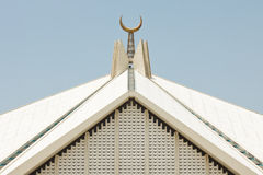 Crescent at Faisal Mosque, Islamabad, Pakistan. Crescent at at Faisal Mosque in Islamabad, Pakistan's largest mosque Royalty Free Stock Images