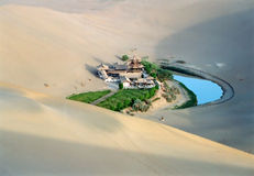 Crescent lake. The famous crescent lake nearby Dun-huang of Gansu province, China Stock Photos