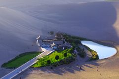 Crescent Lake in DunHuang. The Crescent Moon Spring China Royalty Free Stock Image