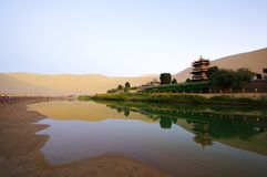 Crescent Lake in DunHuang. The Crescent Moon Spring China Stock Image