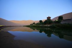 Crescent Lake in DunHuang. The Crescent Moon Spring China Royalty Free Stock Photos