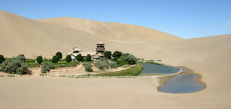 Crescent Lake in Dunhuang Royalty Free Stock Photography