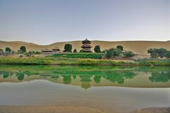 Crescent Lake in Dunhuang Stock Photography