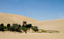 Crescent Lake in Dunhuang Stock Photo