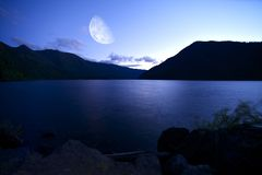 Crescent Lake at Night Stock Photos
