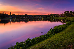 Crescent Lake at sunset, in Saint Petersburg, Florida. Royalty Free Stock Images