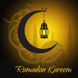 Crescent and lantern to light the holy Muslim Stock Photo