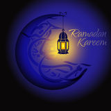 Crescent and lantern to light the holy Muslim Royalty Free Stock Photos