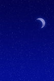 Crescent moon. Night sky filled with stars and crescent moon Royalty Free Stock Photo