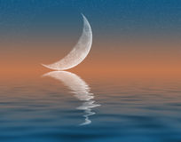 Crescent Moon. Illustration of crescent Moon reflecting in water Stock Photography