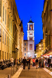 Crescent moon above the streets in  the Old Town of Nice France Royalty Free Stock Image