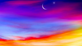 Crescent moon with beautiful sunset background . Generous Ramadan. Light in dark sky . Stairs in sky . Religion for the person . Way to heaven . Religious stock illustration