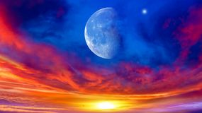 Generous Ramadan . Light from sky . Religion background . Crescent moon with beautiful sunset background . Generous Ramadan . Light from sky . Religion stock photos