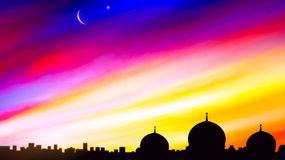 Crescent moon with beautiful sunset background . Generous Ramadan. Light from sky . Religion background . city silhouette mosque vector illustration