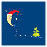 Crescent moon in a Christmas hat Stock Image