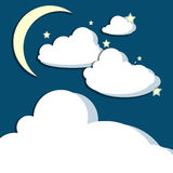Crescent Moon Clouds Stars Stock Photography