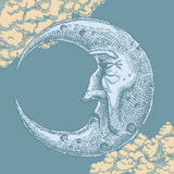 Crescent Moon Face Vintage Drawing Royalty-vrije Stock Fotografie