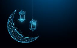 Crescent moon with hanging lamps Islamic Festival concept form lines and triangles, point connecting network on blue background. Illustration vector Stock Image
