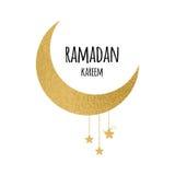 Crescent moon with hanging stars for Holy Month of Muslim Community, Ramadan Kareem celebration. Stock Photo
