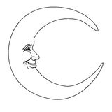 Crescent moon with human face simple hand drawn Royalty Free Stock Photography