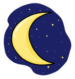 Half moon illustration; Crescent moon drawing Stock Photo