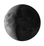 Crescent Moon isolated with clipping path. Detailed picture of crescent Moon over white. Clipping path is included Royalty Free Stock Photography