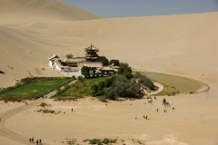 Crescent moon lake. Was taken in dunhuang  of china,the crescent moon lake Stock Images