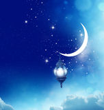 Crescent Moon and Lantern Lightning in sky Royalty Free Stock Image