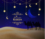 Crescent moon and night desert Royalty Free Stock Photo