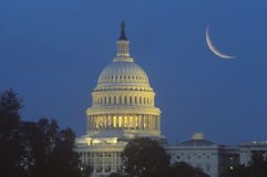 Crescent Moon Over U.S. Capitol. Building dome Stock Images