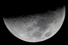 Crescent Moon. Picture taken with newtonian telescope 1200mm, barlow 2x lensesn and DSLR Royalty Free Stock Photos