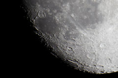 Crescent Moon. Picture taken with newtonian telescope 1200mm, barlow 2x lensesn and DSLR Royalty Free Stock Image