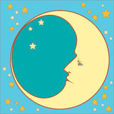 Crescent moon profile Royalty Free Stock Photo