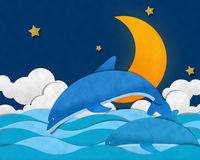 Crescent Moon at Sea Royalty Free Stock Images