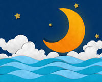 Crescent Moon at Sea Stock Photo