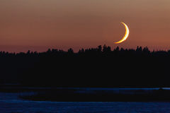 Crescent moon setting behind forest Royalty Free Stock Photography