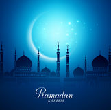 Crescent Moon and Silhouette Mosque for Ramadan Kareem Background. Crescent Moon and Silhouette Mosque in the Bright Night for Ramadan Kareem Background. Vector Stock Photography