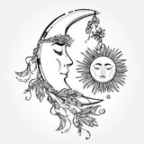 Crescent Moon and Sleeping Sun. Vector. Royalty Free Stock Image